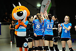 Rüsselsheim, Germany, April 13: Players of VC Wiesbaden after play off Game 1 in the best of three series in the semifinal of the DVL (Deutsche Volleyball-Bundesliga Damen) season 2013/2014 between the VC Wiesbaden and the Rote Raben Vilsbiburg on April 13, 2014 at Grosssporthalle in Rüsselsheim, Germany. Final score 0:3 (Photo by Dirk Markgraf / www.265-images.com) *** Local caption ***