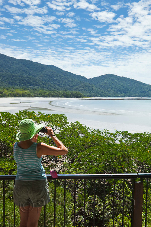 Tourist at the Cape Tribulation lookout.  Daintree National Park, Queensland, Australia