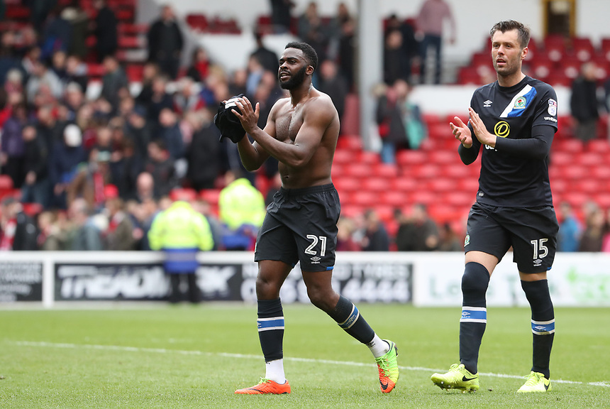 Blackburn Rovers' Hope Akpan and Blackburn Rovers' Elliott Ward celebrate at the end of todays match<br /> <br /> Photographer Rachel Holborn/CameraSport<br /> <br /> The EFL Sky Bet Championship - Nottingham Forest v Blackburn Rovers - Friday 14th April 2016 - The City Ground - Nottingham<br /> <br /> World Copyright &copy; 2017 CameraSport. All rights reserved. 43 Linden Ave. Countesthorpe. Leicester. England. LE8 5PG - Tel: +44 (0) 116 277 4147 - admin@camerasport.com - www.camerasport.com