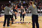 March 6, 2015; Las Vegas, NV, USA; Loyola Marymount Lions guard Leslie Lopez-Wood (23) during player introductions against the Gonzaga Bulldogs before the game of the WCC Basketball Championships at Orleans Arena.