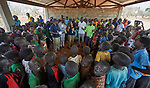 Heydi Foster, the CEO of Mision Cara, meets with a group of students and community leaders in the Kaya Refugee Camp in Maban County, South Sudan. The county is host to more than 130,000 refugees from the Blue Nile region of Sudan, and Misean Cara has supported Jesuit Refugee Service as it provides educational and psycho-social services to both refugees and the host community.