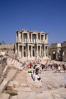 Historical famous ruins of library Bibliotheque of Celsus most famosu and perfect ruins in the world at Ephesus Turkey