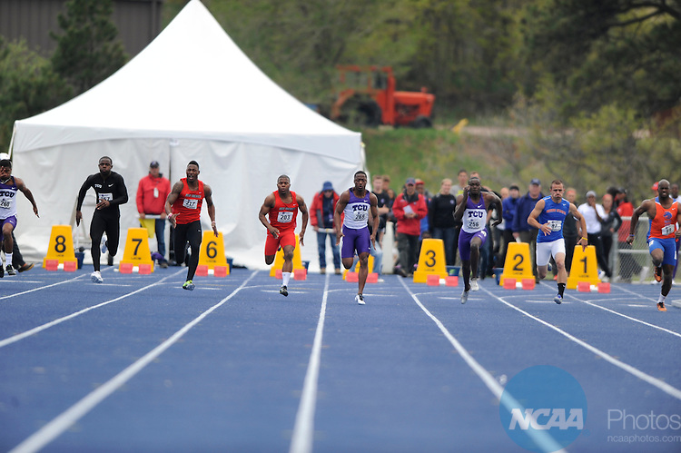 12 MAY 2012: Athletes compete during Mountain West Conference Men's and Women's Outdoor Track Championship held at the Cadet Outdoor Track and Field Complex on the campus of US Air Force Academy in Colorado Springs, CO. Brett Wilhelm/NCAA Photos