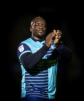 Adebayo Akinfenwa of Wycombe Wanderers applauds the supporters after the Sky Bet League 2 match between Wycombe Wanderers and Yeovil Town at Adams Park, High Wycombe, England on 14 January 2017. Photo by Andy Rowland / PRiME Media Images.