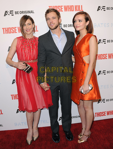 LOS ANGELES, CA - FEBRUARY 26 -Vera Farmiga,Max Thieriot and Olivia Cooke attends The Premiere Party for A&amp;E's Those Who Kill and Season 2 of Bates Motel held at Warwick in Hollywood, California on February 26,2014                                                                              <br /> CAP/DVS<br /> &copy;DVS/Capital Pictures