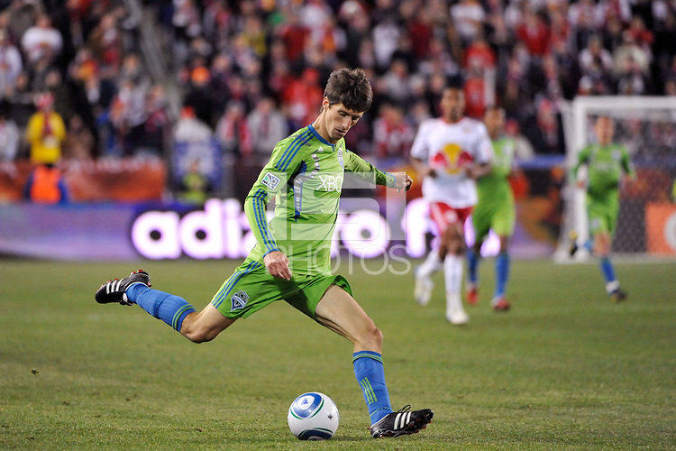 Alvaro Fernandez (15) of the Seattle Sounders. The New York Red Bulls defeated the Seattle Sounders 1-0 during a Major League Soccer (MLS) match at Red Bull Arena in Harrison, NJ, on March 19, 2011.