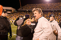 ESPN sideline reporter Holly Rowe interviews Pitt head coach Dave Wannstedt after the Pitt Panthers upset the West Virginia Mountaineers 13-9 on December 01, 2007 in the 100th edition of the Backyard Brawl at Mountaineer Field, Morgantown, West Virginia.