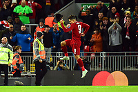 Liverpool's Roberto Firmino celebrates scoring his side's first goal <br /> <br /> Photographer Richard Martin-Roberts/CameraSport<br /> <br /> UEFA Champions League Group C - Liverpool v Crvena Zvezda - Wednesday 24th October 2018 - Anfield - Liverpool<br />  <br /> World Copyright © 2018 CameraSport. All rights reserved. 43 Linden Ave. Countesthorpe. Leicester. England. LE8 5PG - Tel: +44 (0) 116 277 4147 - admin@camerasport.com - www.camerasport.com