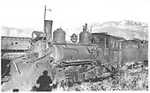 RGS 2-8-0 #42 with plow at Ridgway.<br /> RGS  Ridgway, CO  Taken by Van Horn, Harold - 5/1/1947