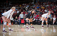 STANFORD, CA - November 4, 2018: Kate Formico, Morgan Hentz, Kathryn Plummer at Maples Pavilion. No. 2 Stanford Cardinal defeated the Utah Utes 3-0.