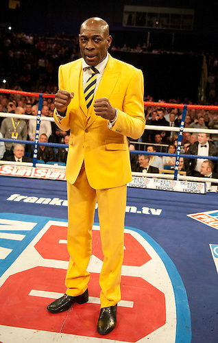 GLASGOW, SCOTLAND - MARCH 10: Frank Bruno at the Ricky Burns of Scotland Paulus Moses of Namibia WBO world lightweight title fight at the Braehead Arena on March 10, 2012 in Glasgow, Scotland. (Photo by Rob Casey/Getty Images)