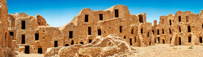 The traditional north Sahara fortified Berber Ksar El Mguebl and its adobe mud ghorfas graneries, near Tataouine, Tunisia