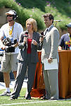 24 August 2003: Beth Mowens (left) and Anson Dorrance (right) called the game on television. The Washington Freedom defeated the Atlanta Beat 2-1 in golden goal overtime to win the WUSA Founders Cup III championship game played at Torero Stadium in San Diego, CA.