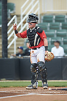 Kannapolis Intimidators catcher Evan Skoug (9) lets his defense know there are two outs during the game against the Rome Braves at Kannapolis Intimidators Stadium on April 7, 2019 in Kannapolis, North Carolina. The Intimidators defeated the Braves 2-1. (Brian Westerholt/Four Seam Images)