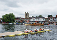 Henley-on-Thames. United Kingdom.  Prince Albert Challenge Cup, Deerfield Academy USA, boating to compete at the 2017 Henley Royal Regatta, Henley Reach, River Thames. <br /> <br /> <br /> 14:42:55  Thursday  29/06/2017   <br /> <br /> [Mandatory Credit. Peter SPURRIER/Intersport Images.