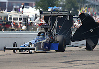 Aug 16, 2014; Brainerd, MN, USA; NHRA top fuel dragster driver Tim Cullinan during qualifying for the Lucas Oil Nationals at Brainerd International Raceway. Mandatory Credit: Mark J. Rebilas-