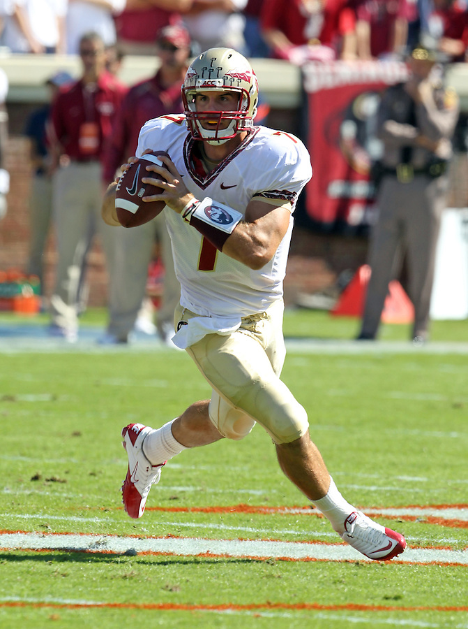 Oct 2, 2010; Charlottesville, VA, USA; Florida State Seminoles quarterback Christian Ponder (7) looks to throw the ball during the game against the Virginia Cavaliers at Scott Stadium. Florida State won 34-14.  Mandatory Credit: Andrew Shurtleff