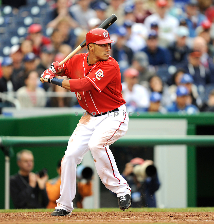IAN DESMOND, of the Washington Nationals, in action during the Nationals game against the Los Angeles Dodgers .The Washington Nationals defeated the Los Angeles Dodgers 1-0 in Major League Baseball action in Washington, D.C. on April 25, 2010. ....