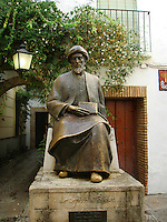 Moses Maimonides, also known as Rabbi Moshe ben Maimon - monument in Cordoba - Spain.