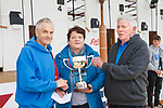 Eileen and James O'Sullivan from Waterville presenting the Sean O'Sullivan memorial cup to the All Ireland blade winner, George Mudge, at this year's All Ireland Sheep Shearing finals in Roscommon.