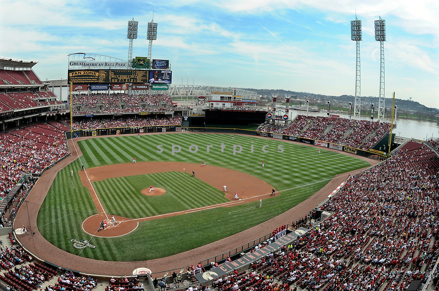 An overall view of The Great American Ballpark in Cincinnati, during a game between the Cincinnati Reds and the Philadelphia Phillies on April 6, 2008. (AP Photo/Chris Bernacchi)