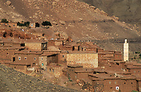 Rooftops of a village near Ait Benhaddou, Morocco.
