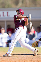 Jesse Mesa #1 of the College of Charleston Cougars follows through on his swing against the Davidson Wildcats at Wilson Field on March 12, 2011 in Davidson, North Carolina.  The Wildcats defeated the Cougars 8-3.  Photo by Brian Westerholt / Four Seam Images