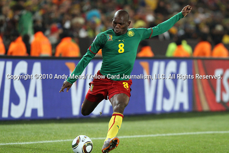 19 JUN 2010:  Geremi (CMR).  The Cameroon National Team lost to the Denmark National Team 1-2 at Loftus Versfeld Stadium in Tshwane/Pretoria, South Africa in a 2010 FIFA World Cup Group E match.