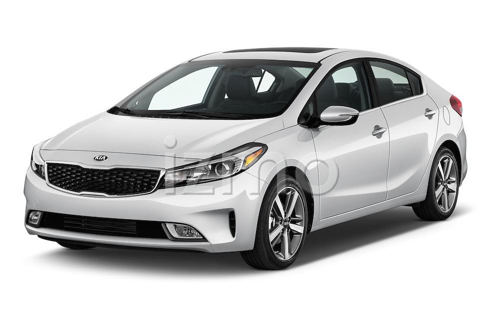 2017 KIA Forte EX-AT 4 Door Sedan Angular Front stock photos of front three quarter view
