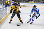 15.04.2018, EnergieVerbund Arena, Dresden, GER, Euro Hockey Challenge, Deutschland vs. Slowakei, im Bild<br /> <br /> <br /> Marc Michaelis (#65, Deutschland), Marek Daloga (#71, Slowakei), <br /> <br /> Foto &copy; nordphoto / Dostmann