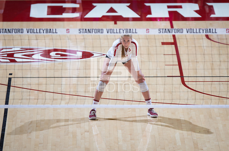 STANFORD, CA - October 12, 2018: Kate Formico at Maples Pavilion. No. 2 Stanford Cardinal swept No. 21 Washington State Cougars, 25-15, 30-28, 25-12.