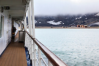 "The abandoned Norwegian whaling base in Whalers Bay as viewed from the deck of the ""Sea Spirit.""  Whalers Bay is a volcanic caldera whose rim forms Decption Island of the South Shetland Islands, near the Antarctic Peninsula."