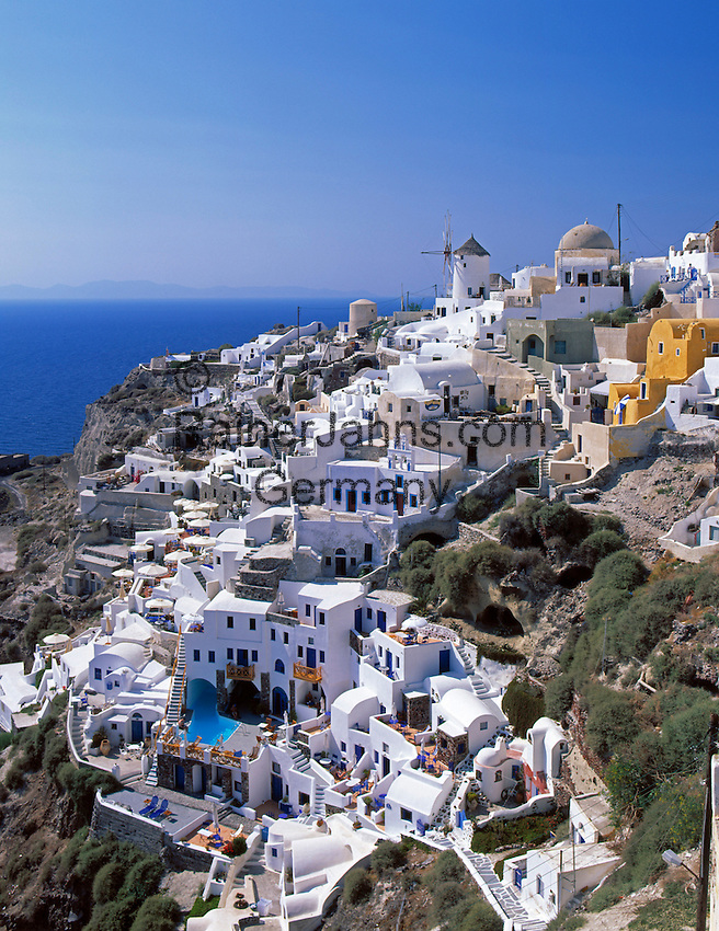 Greece; Cyclades; Santorini; Ia with windmill in Santorini's North
