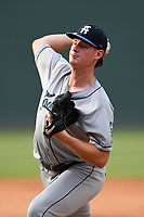 Pitcher Tommy Doyle (16) of the Asheville Tourists delivers a pitch in a game against the Greenville Drive on Sunday, June 3, 2018, at Fluor Field at the West End in Greenville, South Carolina. Greenville won, 7-6. (Tom Priddy/Four Seam Images)
