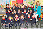 Pictured on their first day of school at Listellick  national school, Tralee on Friday Front From left from left: Kieran O'Biren, Katie O'Brien, Conor FLaherty, Alex Carnegie, Kyle Deady, Jamie O'Leary..Middle Row from left: Johanna McMahon, Breanna Moynihan, Eve Broderick, rendan Maunsell, Chriatian Kennedy, .Back from left: Killian O'Mahony, Gemma Sheehy, Oliver Lata, Katie Ryan Barrett, Mikie Lynch, Kayleigh Enright and Liam O'Connell and teacher Mary Dillane.