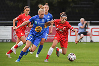 20190823 – OOSTAKKER, BELGIUM : Gent's Elena Dhont (L) and Standard's Noemie Gelders (R)  pictured during a women soccer game between AA Gent Ladies and Standard Femina de Liege on the first matchday of the Belgian Superleague season 2019-2020 , the Belgian women's football  top division , friday 23 th August 2019 at the PGB Stadium Oostakker in Gent  , Belgium  .  PHOTO SPORTPIX.BE | DIRK VUYLSTEKE
