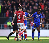 4th November 2017, Ashton Gate, Bristol, England; EFL Championship football, Bristol City versus Cardiff City; Omar Bogle of Cardiff City is given a red card for a dangerous tackle