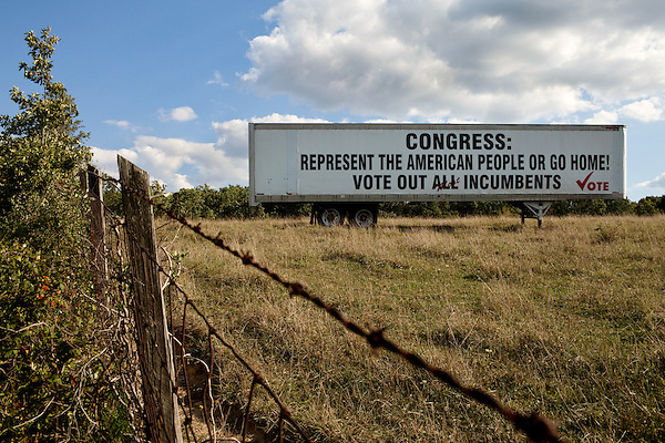 September 12, 2010.  Staunton, Virginia.. A tractor trailer is parked on a private farm along the I-64 corridor near Staunton, VA asking voters to cast their votes against incumbent congressional candidates who do not seem to represent the will of the people.