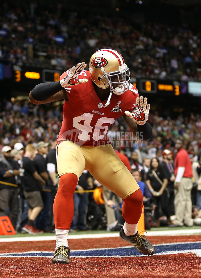 Feb 3, 2013; New Orleans, LA, USA; San Francisco 49ers tight end Delanie Walker (46) against the Baltimore Ravens in Super Bowl XLVII at the Mercedes-Benz Superdome. Mandatory Credit: Mark J. Rebilas-