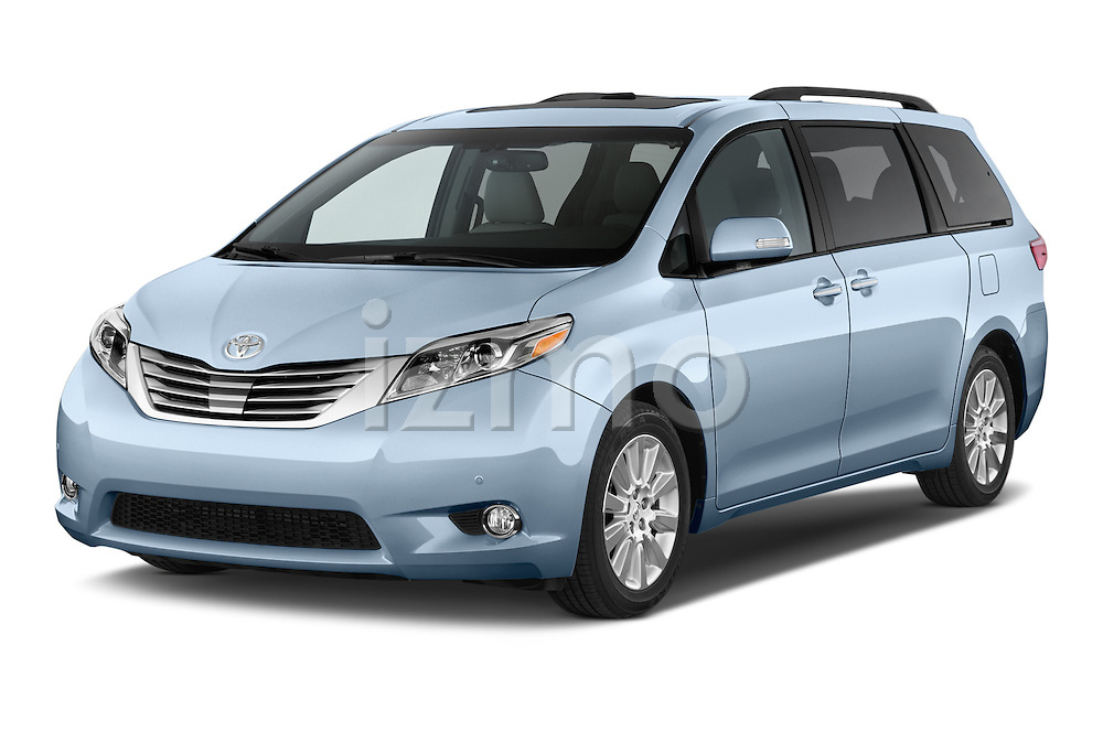 2017 Toyota Sienna Limited 5 Door Minivan Angular Front stock photos of front three quarter view