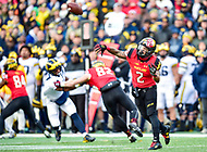 College Park, MD - NOV 11, 2017: Maryland Terrapins running back Lorenzo Harrison III (2) throws a Halfback pass during game between Maryland and Michigan at Capital One Field at Maryland Stadium in College Park, MD. (Photo by Phil Peters/Media Images International)