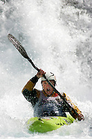 ØVREEIDE Eirik (Norway). Kayak downhill race in the Brandseth river. The Extremesport Week, Ekstremsportveko, is the worlds largest gathering of adrenalin junkies. In the small town of Voss enthusiasts in a varitety of extreme sports come togheter every summer to compete and play. Norway.  ©Fredrik Naumann/Felix Features.