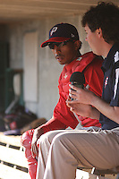 Potomac Nationals catcher James Skelton #22 being interviewed by Potomac Nationals radio announcer Will Flemming before a game against the Myrtle Beach Pelicans at Tickerreturn.com Field at Pelicans Ballpark on April 10, 2012 in Myrtle Beach, South Carolina. Potomac defeated Myrtle Beach by the score of 6-4. (Robert Gurganus/Four Seam Images)