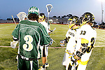 Placentia, CA 05/14/10 - Eric Adamson (Foothill # 33), Taylor DeBerry (Foothill # 5) and Ryan Kole (MC # 5) shake hands before the contest to determine the 2010 Los Angeles / Orange County CIF Boys Lacrosse Champion.