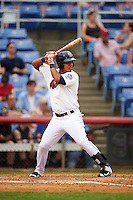 Binghamton Mets left fielder Victor Cruzado (5) during a game against the Trenton Thunder on May 29, 2016 at NYSEG Stadium in Binghamton, New York.  Trenton defeated Binghamton 2-0.  (Mike Janes/Four Seam Images)
