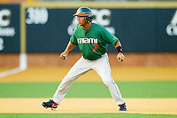 Zeke DeVoss #7 of the Miami Hurricanes takes his lead off of second base against the Wake Forest Demon Deacons at Gene Hooks Field on March 18, 2011 in Winston-Salem, North Carolina.  Photo by Brian Westerholt / Four Seam Images