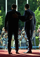 Pictured: French President Emmanuel Macron and Greek Prime Minister Alexis Tsiptas pose for photographers on the steps of Megaro Maximou (Maximou Mansion) in Athens, Greece. Thurday 07 September 2017<br /> Re: French President Emmanuel Macron state visit to Athens, Greece.
