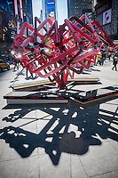 "Viewers peer through the periscopes of ""Match-Maker"", created by the design studio Young Projects, on view in Times Square in New York for Valentine's Day, seen on Tuesday, February 11, 2014. The sculpture consists of interwoven periscopes where viewers connect at the other end with their ideal astrological mates. This is the sixth installation for Valentines Day in six years  and it is tied in with the ""Free Love in Times Square"" promotion offering discounts on restaurants, hotels and other entertainment.  (© Richard B. Levine)"