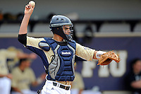 4 March 2012:  FIU catcher Aramis Garcia (44) thretens the runner as the FIU Golden Panthers defeated the Brown University Bears, 8-3, at University Park Stadium in Miami, Florida.