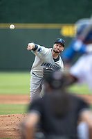 Lake County Captains pitcher Cody Morris (37) delivers a pitch to the plate against the South Bend Cubs on May 30, 2019 at Four Winds Field in South Bend, Indiana. The Captains defeated the Cubs 5-1.  (Andrew Woolley/Four Seam Images)